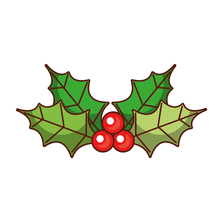 christmas leaves holly berry natural ornament vector illustration Illustration