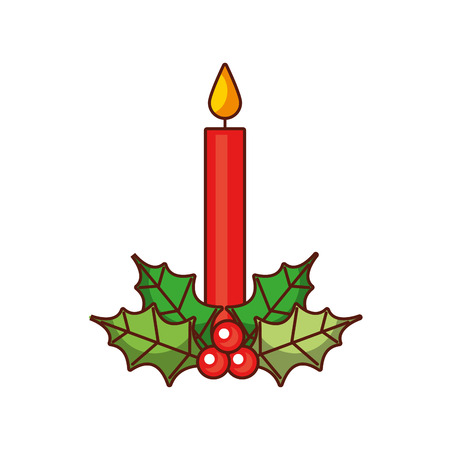 christmas candle holly berry decoration natural vector illustration