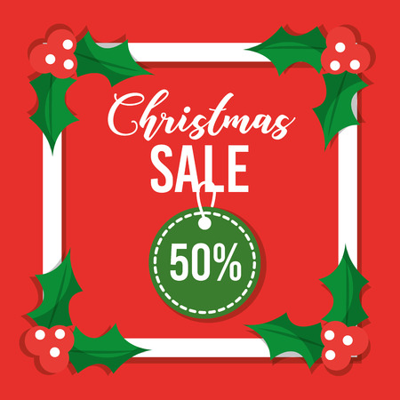 christmas sale card special offer discount decoration red background vector illustration