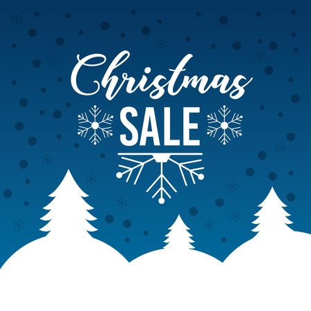 christmas sale poster lettering snow tree mountain blue background vector illustration