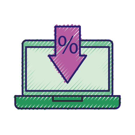 online buy laptop discount percent offer sale vector illustration 向量圖像