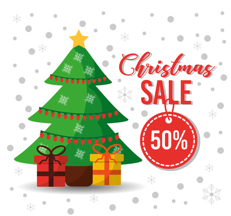 christmas sale tag offer tree gifts decoration card vector illustration