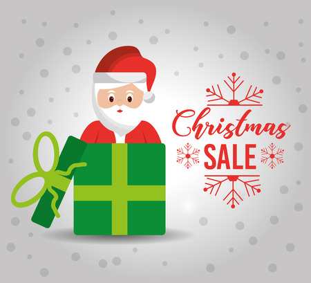 christmas poster with a cute santa claus gift for sale discount banner vector illustration Illustration