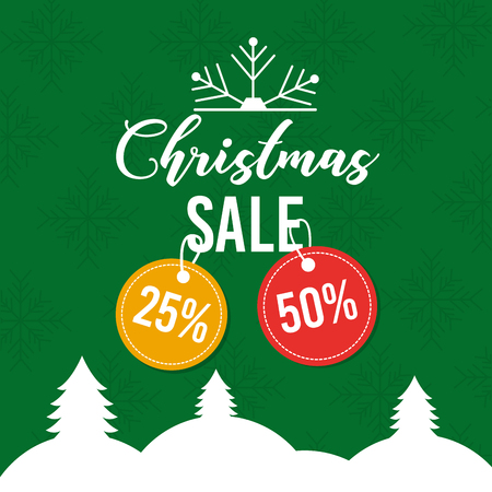 christmas sale poster greeting price tag offer vector illustration