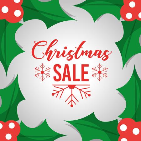 Weihnachtsverkaufs-Plakatschablone mit Blattdekorationsbeeren vector Illustration Standard-Bild - 88986624