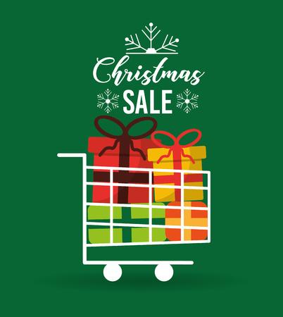 Weihnachtsverkaufskarte mit Geschenkdekorations-Vektorillustration des Warenkorbes voller Standard-Bild - 88986633