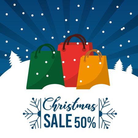 Weihnachtsverkauf 50 Prozent bieten Saisonhandelsförderungs-Vektorillustration an Standard-Bild - 88986635