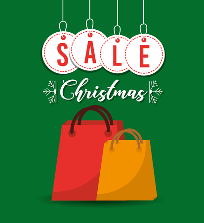 christmas sale balls and gift bag shop commerce vector illustration Illustration