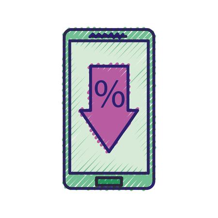 スマート フォンと矢印割引 % を提供販売商取引ベクトル図 写真素材 - 88986642