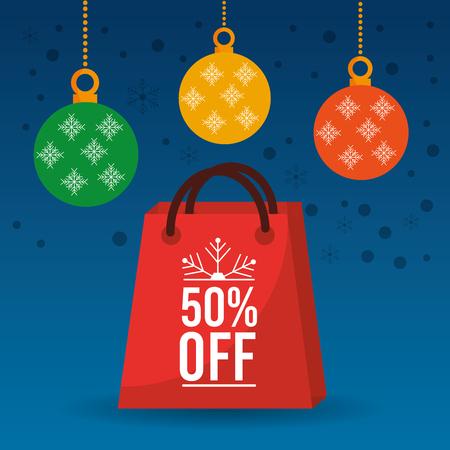 christmas sale off season bag gift and balls ornament vector illustration