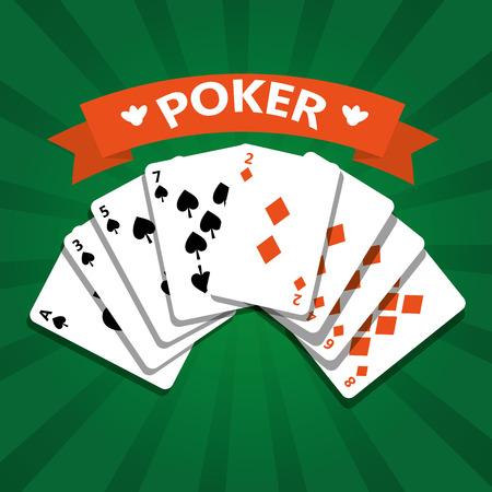 Ilustración de vector de entretenimiento casino casino jugando a las cartas de póker Foto de archivo - 89285454