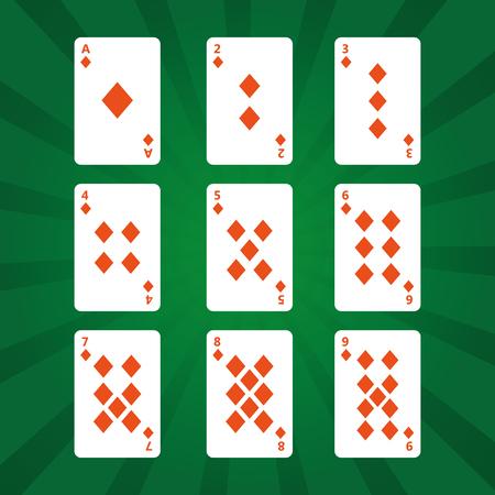 Juego de diamantes jugando a las cartas del póker en la ilustración de vector de fondo verde Foto de archivo - 89285456