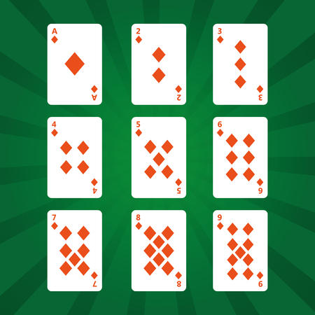 poker playing cards diamonds suit on green background vector illustration