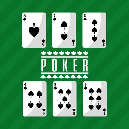 ポーカートランプトランプデッキスペード再生グリーン背景ベクトルイラスト