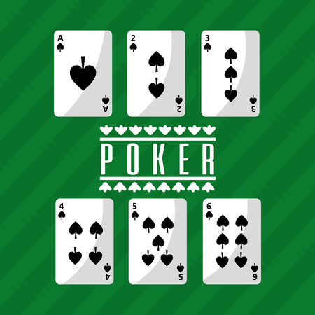 poker playing cards deck spade playing green background vector illustration