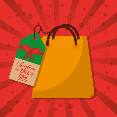 christmas sale bag gift price tag marketing red background vector illustration Stock Vector - 88986679