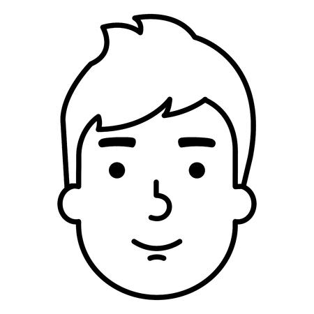 Jonge man hoofd avatar karakter vector illustratie ontwerp