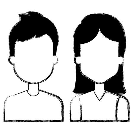 lovers couple avatars characters vector illustration design Ilustração