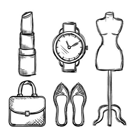 Weibliche Mode Zubehör Symbole Vektor Illustration design Standard-Bild - 89172509