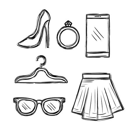 Progettazione femminile dell'illustrazione di vettore delle icone degli accessori di modo Archivio Fotografico - 89172510