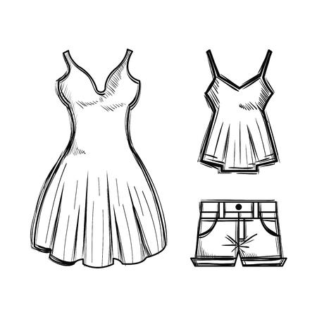 女性のファッション服アイコン ベクトル イラスト デザイン