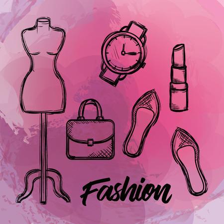女性のファッションアクセサリーアイコンベクトルイラストデザイン