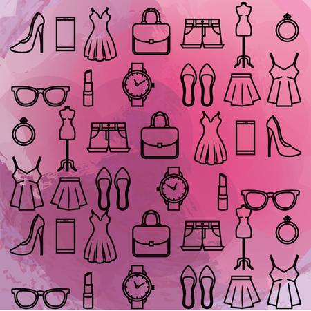 Weibliche Mode Zubehör Symbole Vektor Illustration design Standard-Bild - 89172519