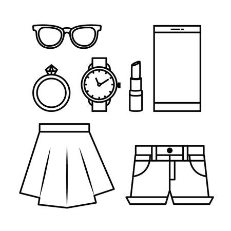 Accessori femminili moda icone illustrazione vettoriale illustrazione Archivio Fotografico - 89172523