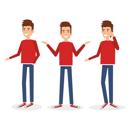young man doing different poses vector illustration design