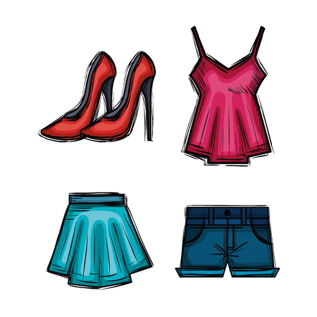 female fashion clothes icon vector illustration design