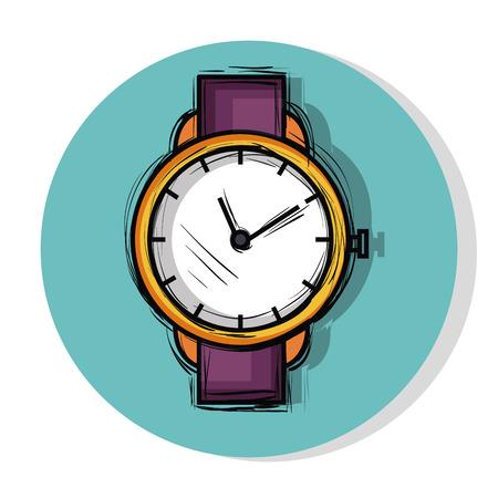 여성 패션 시계 아이콘 벡터 일러스트 디자인