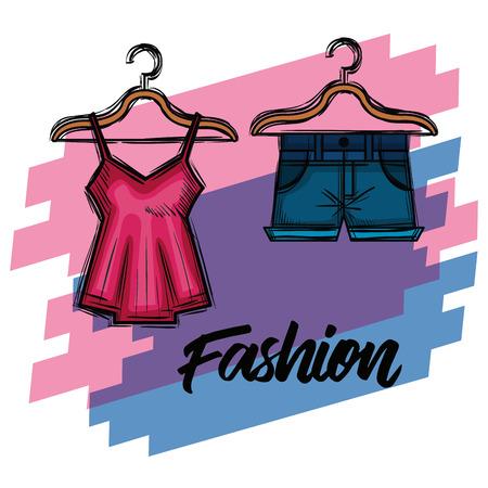 여성 패션 의류 아이콘 벡터 일러스트 디자인