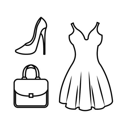 女性のファッション服のアイコンベクトルイラストデザイン  イラスト・ベクター素材