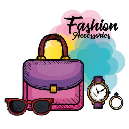 progettazione femminile dell'illustrazione di vettore delle icone degli accessori di modo Vettoriali