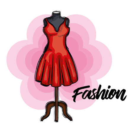 female fashion dress icon vector illustration design