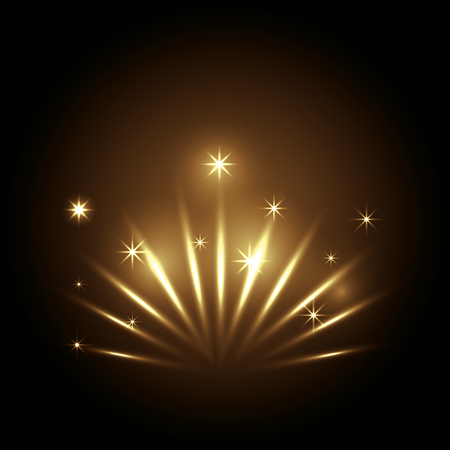 decoration with golden lights vector illustration design