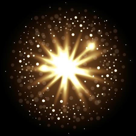 decoration with golden lights vector illustration design