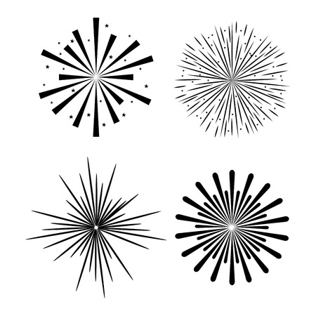 sunburst decorative set icons vector illustration design Illustration