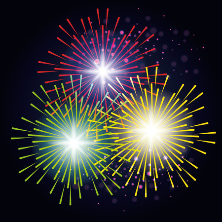 装飾的な花火爆発ポスター ベクトル イラスト デザイン