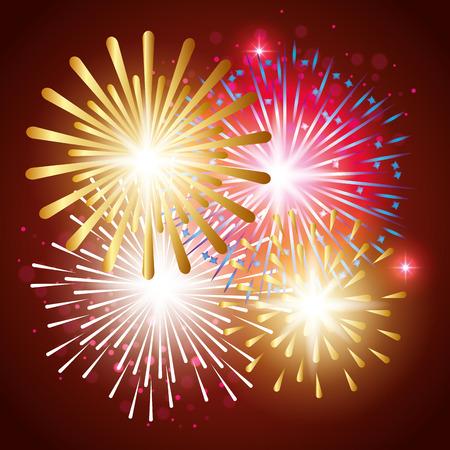 decorative fireworks explosions poster vector illustration design