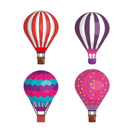balloons air hot flying vector illustration design
