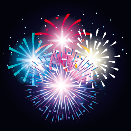 decorative fireworks explosions poster vector illustration design