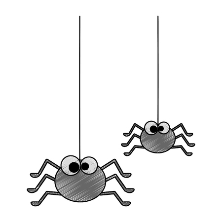 cute spiders hanging halloween decoration vector illustration design Ilustração