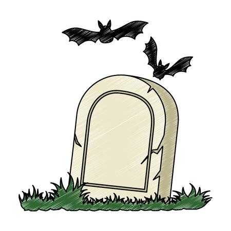 grave of dead with vampires flying vector illustration design