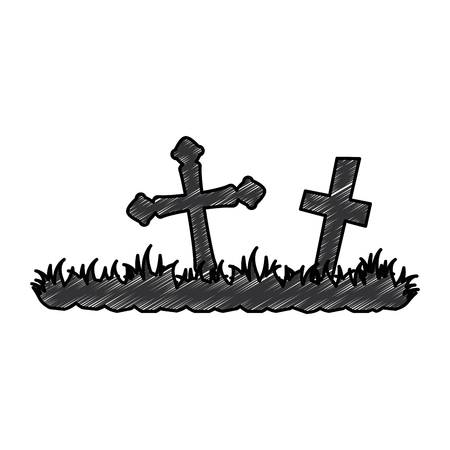 cemetery scene isolated icon vector illustration design Imagens - 89250942
