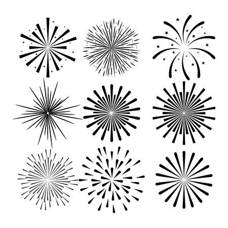 sunburst decorative set icons vector illustration design Illustration