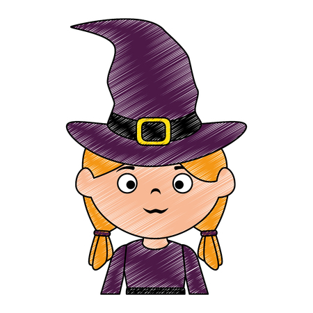little girl disguised as a witch vector illustration design