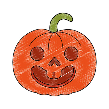 pumpkin hallooween decorative icon vector illustration design