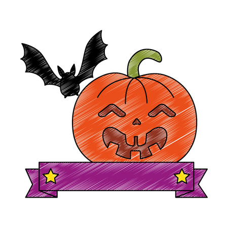 pumpkin hallooween with vampire decorative icon vector illustration design Illustration