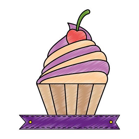 het heerlijke cupcake geïsoleerde ontwerp van de pictogram vectorillustratie